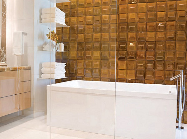 Bathroom with amber toned tileGlass Wall Decors for Inspiration