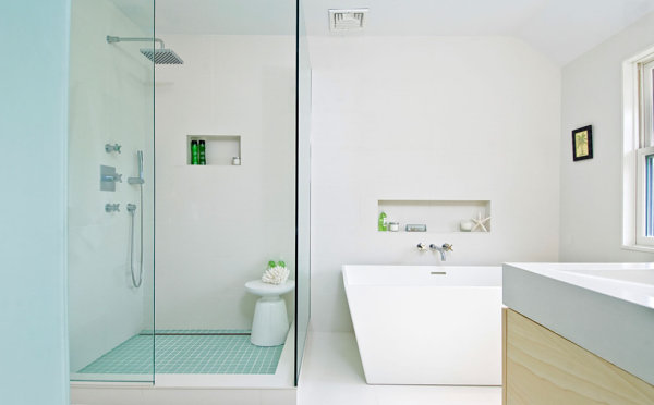 Difference in a minimalist powder roomGlass Shower Door Decoration