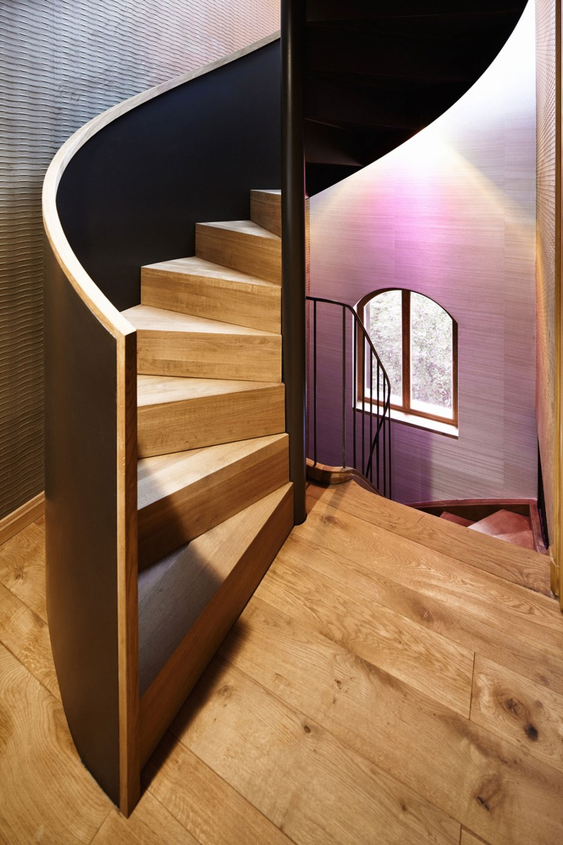 Displayed in Punktchen Project Home Staircase Entryway with Classic Light above It