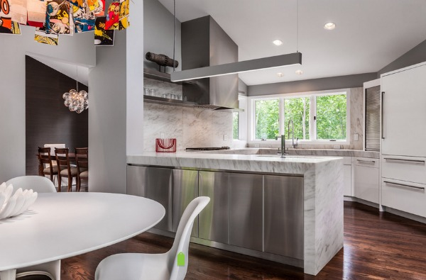 Furniture with White Granite Countertop and Small Round Dining Furniture