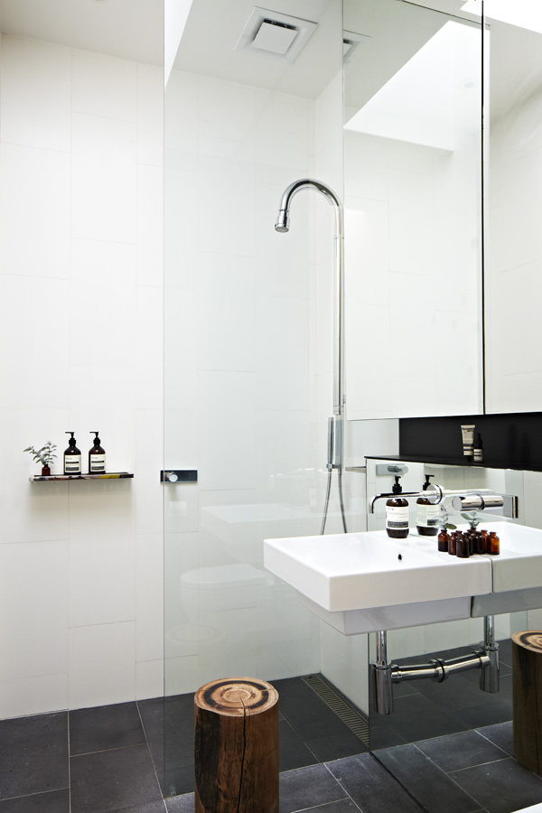 Glass Shower Space and White Sink near Wide Mirror