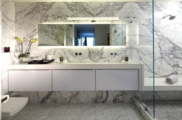 Granite Wall and White Vanity Furniture for Inspiration
