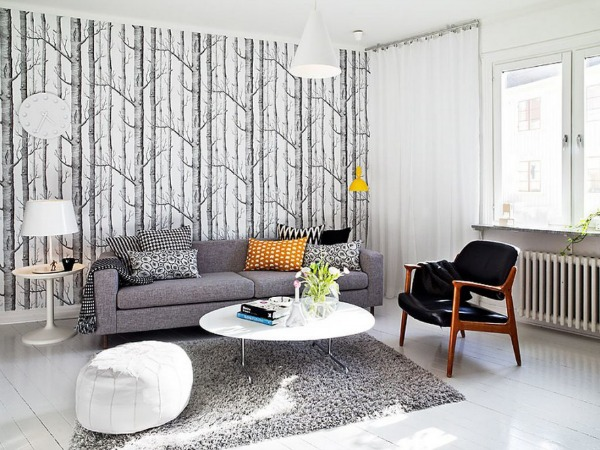 Grey Sofa Furniture in Small Shaped and White Wooden Flooring Decorations