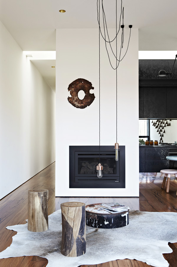 House Sitting Space with Black Fireplace and the Animal Skin Rug