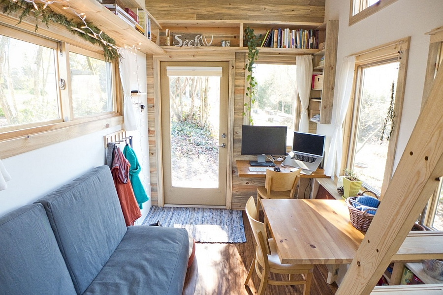 Inside compact mobile houseOpen Living Space Decorated for Home Inspiration