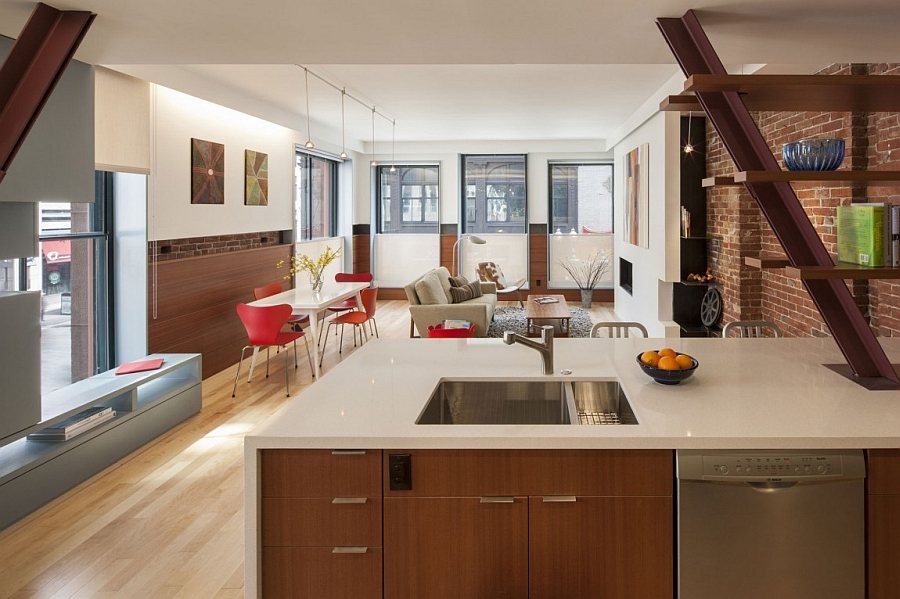 Kitchen Space and Open Living and Dining Interior Used Minimalist Furniture s