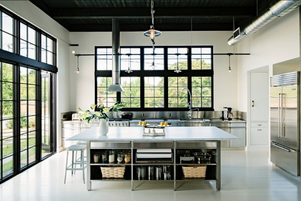 Minimalist Furniture and Industrial Ceiling Light