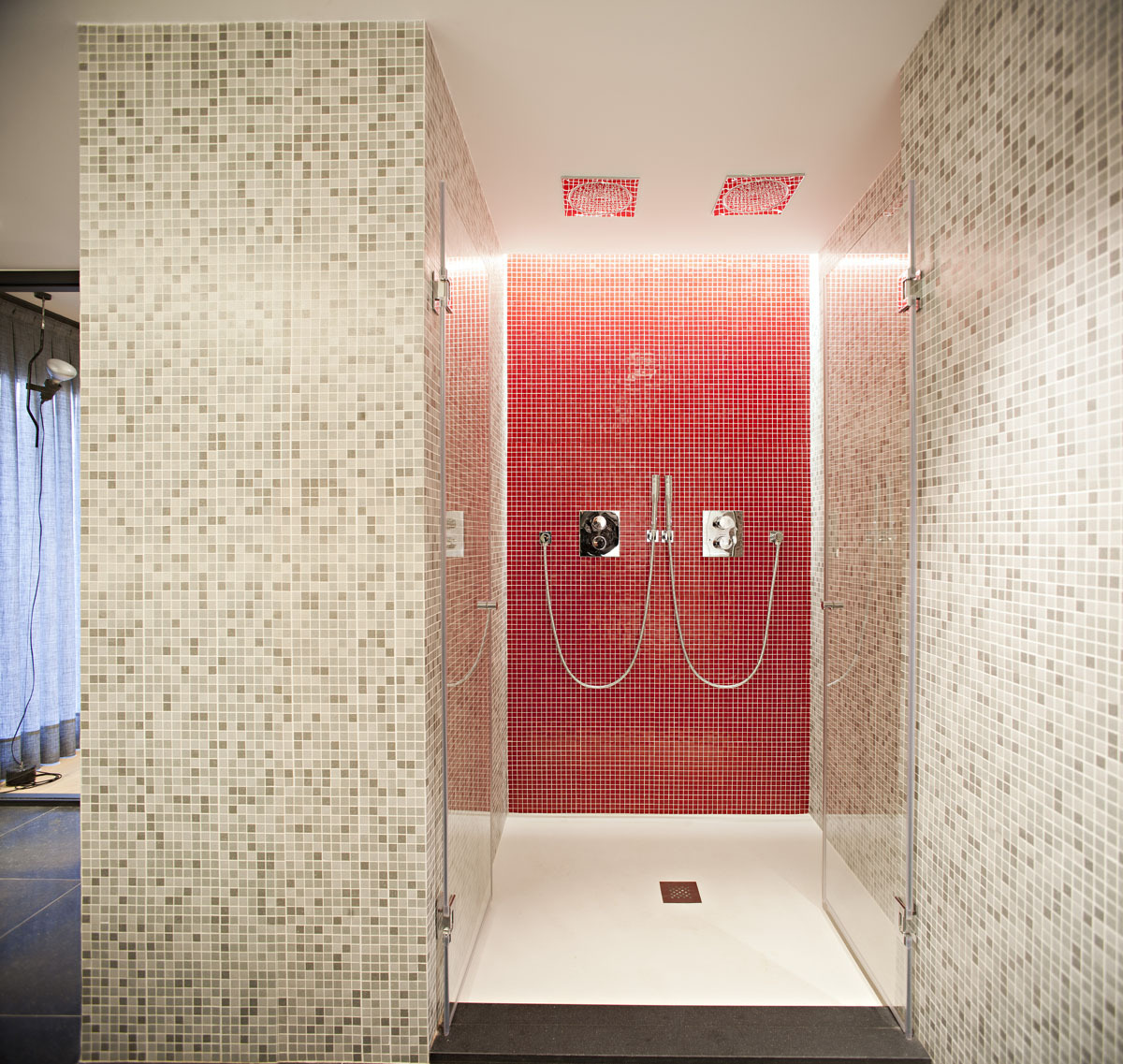Modern Bathroom with Red Tile Wall and the Glass Door