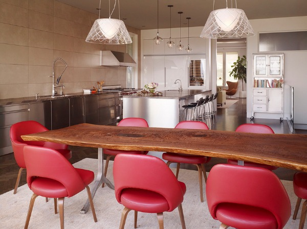 Red Chair Furniture and Wooden Table Top and Stylish Chandelier Lighting