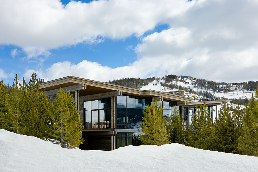 Exterior, horizontal, 3/4 view from west, Taylor residence, Yellowstone Club, Big Sky, Montana; Reid Smith Architect; LC2 Design Services; Teton Heritage Builders; Montana Reclaimed Lumber