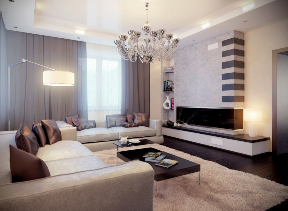 Room with Compact Fireplace Inset Bookcase and Quilted Sofa Set and Coffee Table