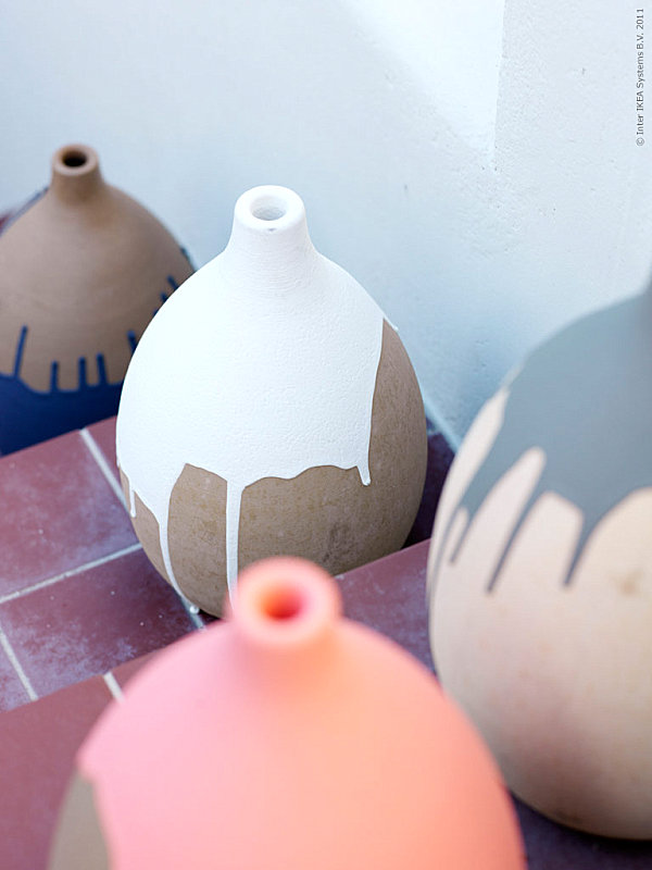 Several Pots which is Made from Clay and Bright Colored Paint Surface