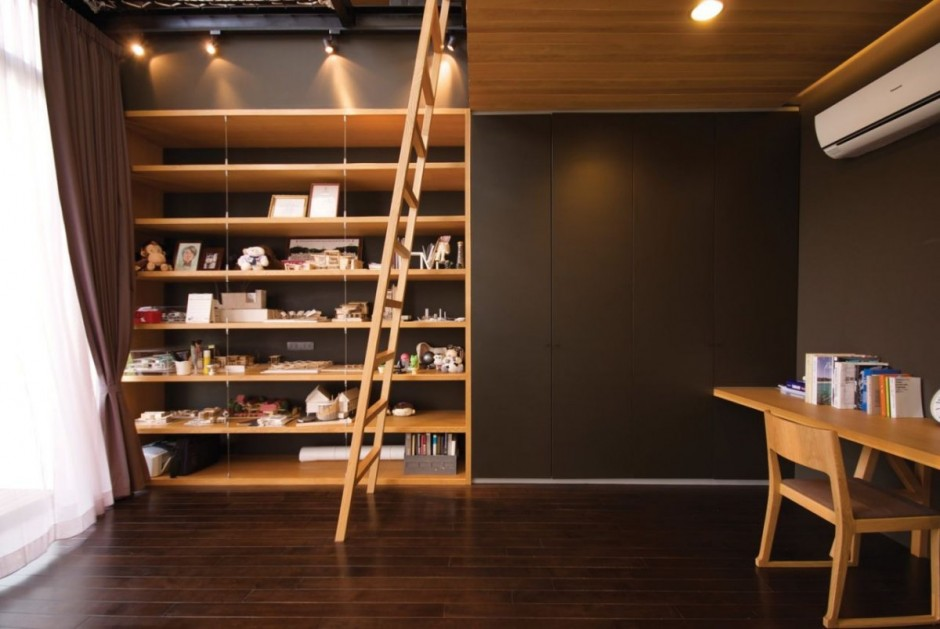 Shelving Installed on Black Residence Baan Moom Wall to Store Decorative Items