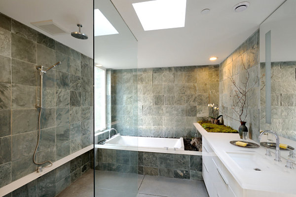 Stone Tile Wall Decor and Glass Shower Room s