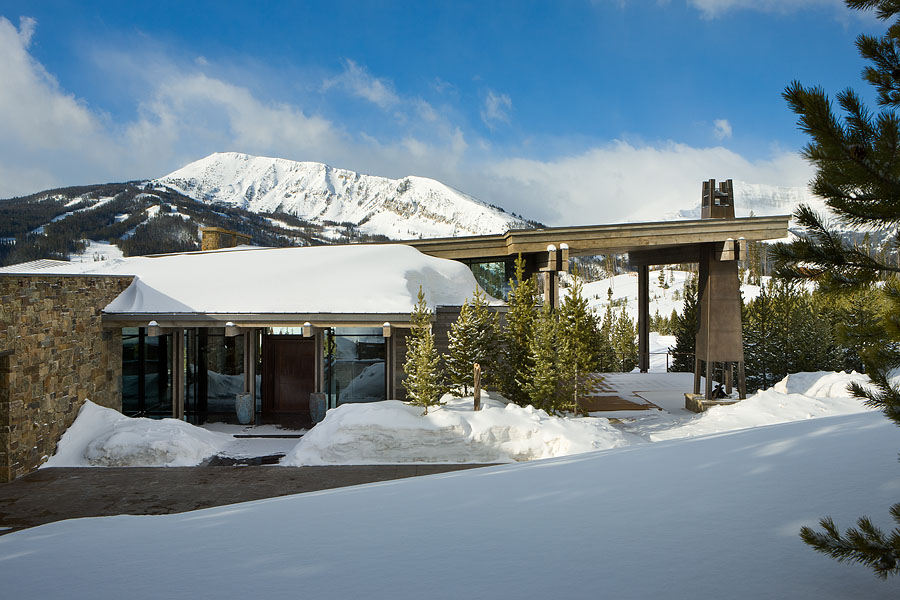 Exterior, horizontal, view from north with Pioneer Mountain in the background, Taylor residence, Yellowstone Club, Big Sky, Montana; Reid Smith Architect; LC2 Design Services; Teton Heritage Builders; Montana Reclaimed Lumber