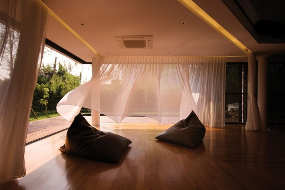 Terrace with Warm Wooden Floor and Bright Ceiling and Sheer Curtain