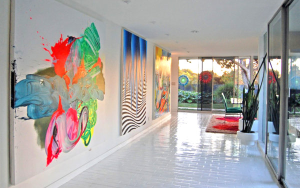 White Floor Made from Marble Blocks and Colorful Painting In the Wall