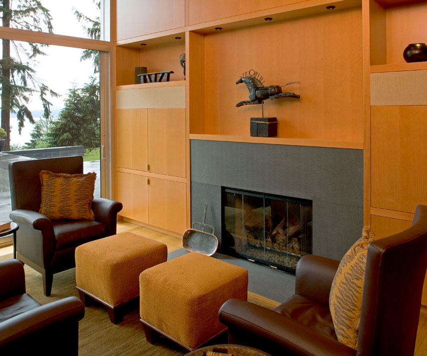 Wooden Cabinets near the Black Fireplace in the Comfortable Living Room