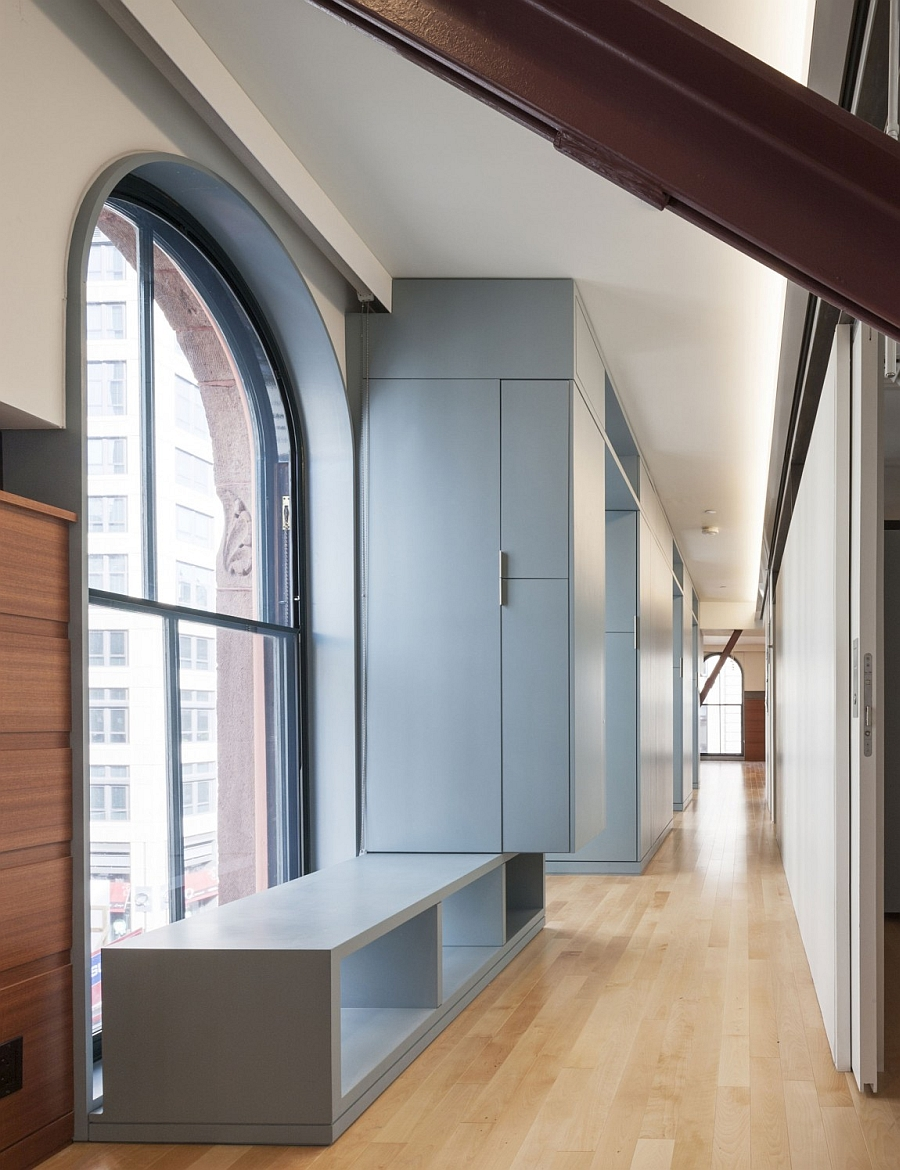 Wooden Flooring and Grey Bench and Wardrobe Furniture s