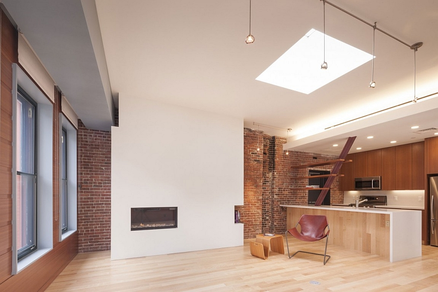 Wooden Flooring and White Fireplace Decorations