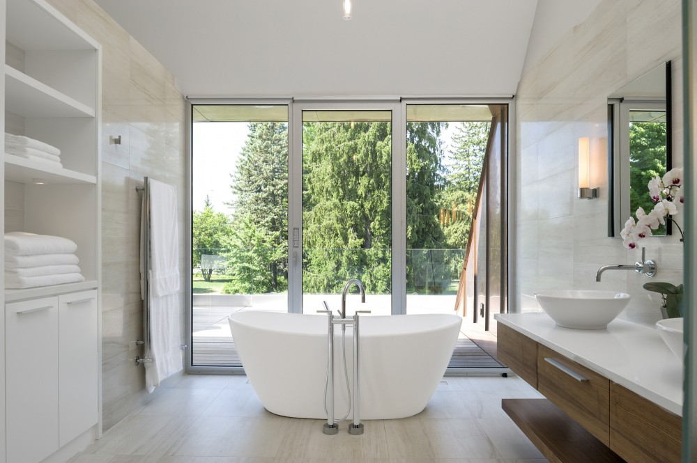 Green Tree seen from Wide Glass Walls near the White Tub
