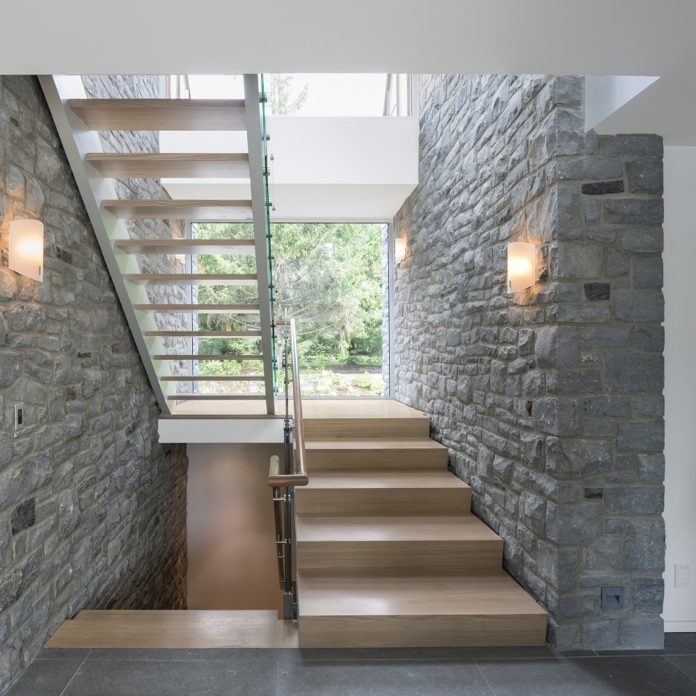 Wood inside the Wooden Staircase Footings and Stone Wall