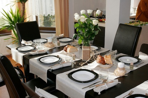 Dining room table elegantly set