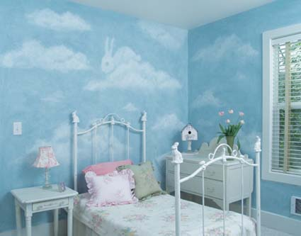 Faux clouds for children 39 s bedrooms for Disney wall stencils for painting kids rooms