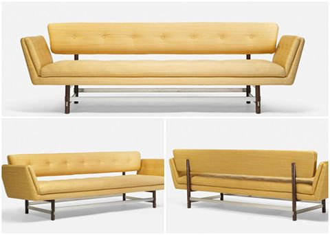 mid century modern sofa yellow