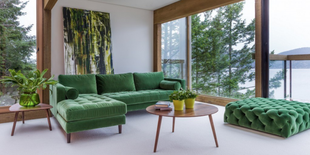 Choosing Your Living Room Furniture Designs - Green Backless Sofa