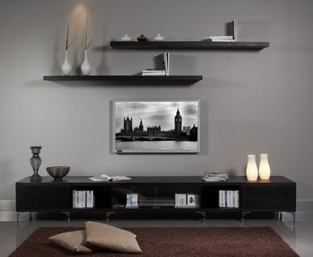Exploring Ideas for Living Room Decor - Black Wall Mounted Bookcase and Vanity 02