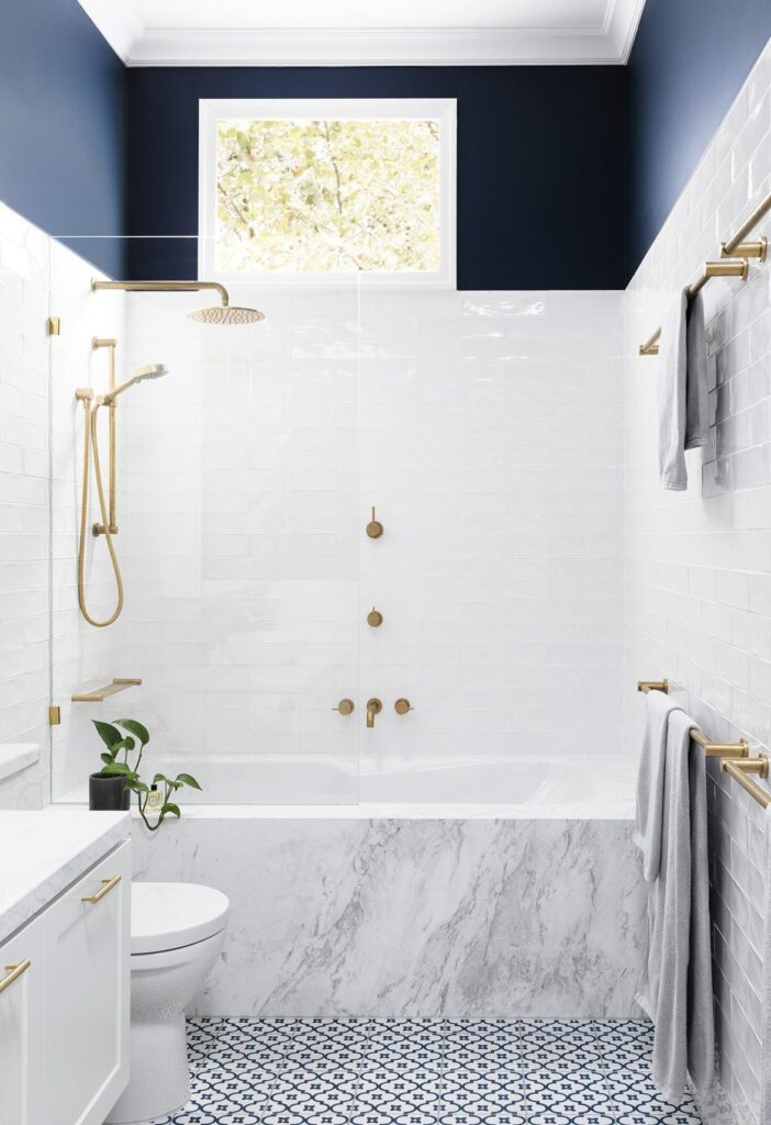 Inset Bath Tub With Shower and Gold Plated Handles [Source: https://pin.it:3vnreir]