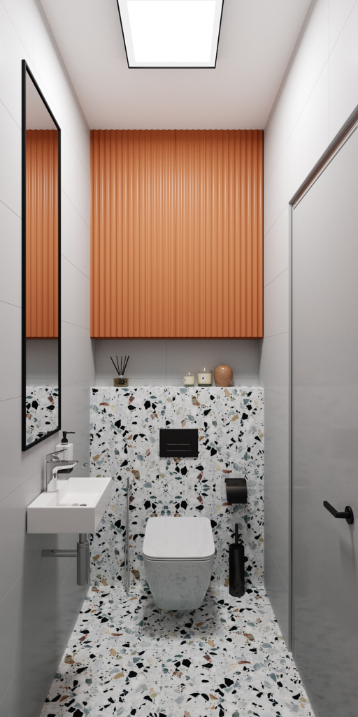 Narrow Bathroom With Large Mirror [Source: https://pin.it:3QAP82D]