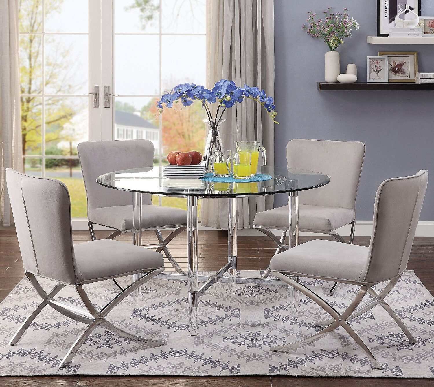 Daire 48 Round Dining Table in Chrome, Acrylic & Clear Glass by Acme Furniture [Source: https://pin.it/4CffQbS]