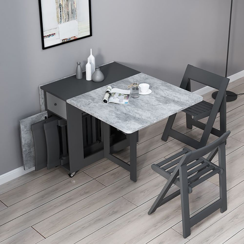 Gray Foldable Dining Table [Source : https://pin.it/3YMNW5c]