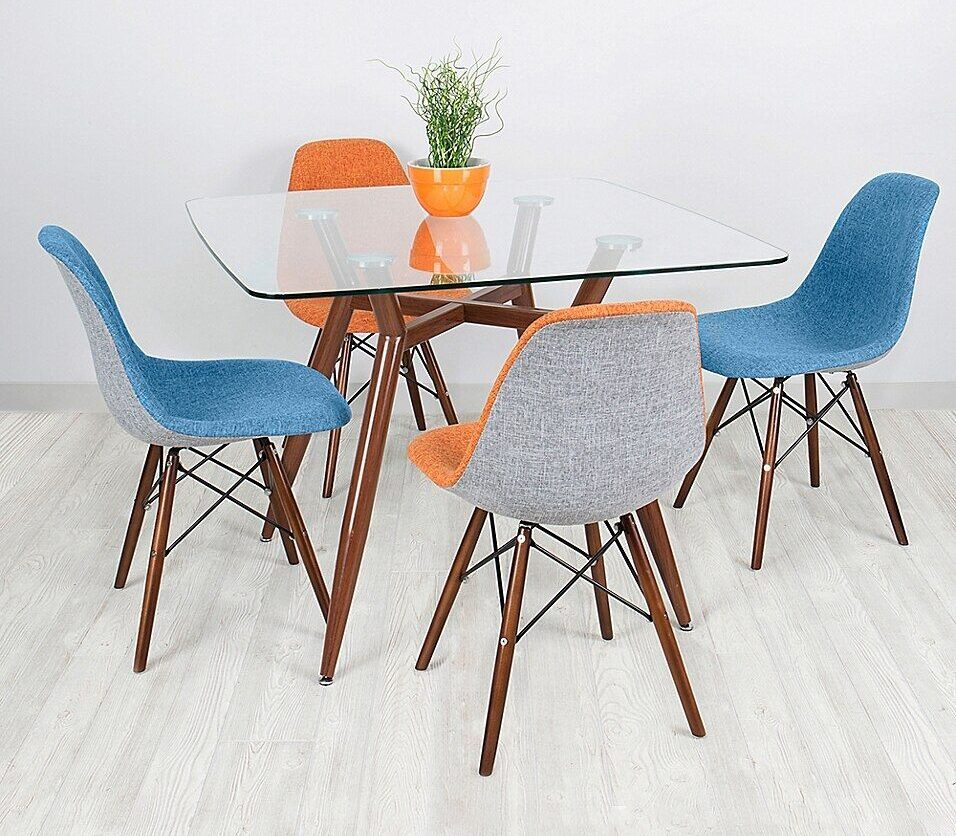Lumisource Clara Metal And Glass Dining Table In Walnut [Source: https://pin.it/1a0eXuP]
