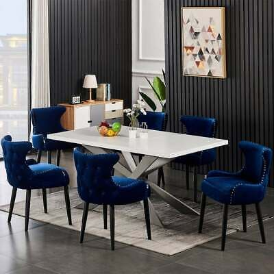 Luxury Velvet Chairs Dining Table Set 6 Seater [Source: https://pin.it/5uUtLn1]