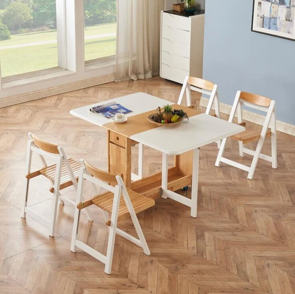 Nordic solid wooden folding dining table set [Source: https://pin.it/2hzZW7C]