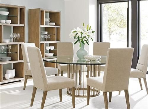 Round Glass Top Dining Table Set [Source: https://pin.it/399vDRg]