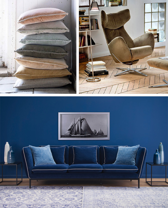 Cosy Sofa Made From Velour Fabric [Source : boshop.dk]